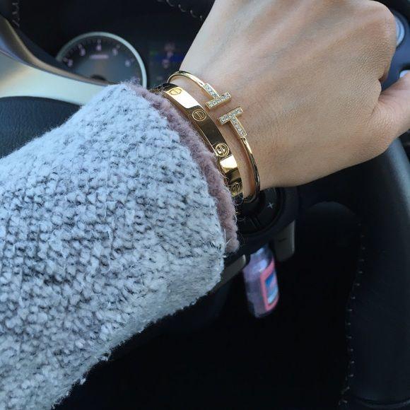 Tiffany Co T Wire Bracelet 18k With Diamonds Bangles Jewelry Designs Tiffany Bracelet Stack Love Bracelets