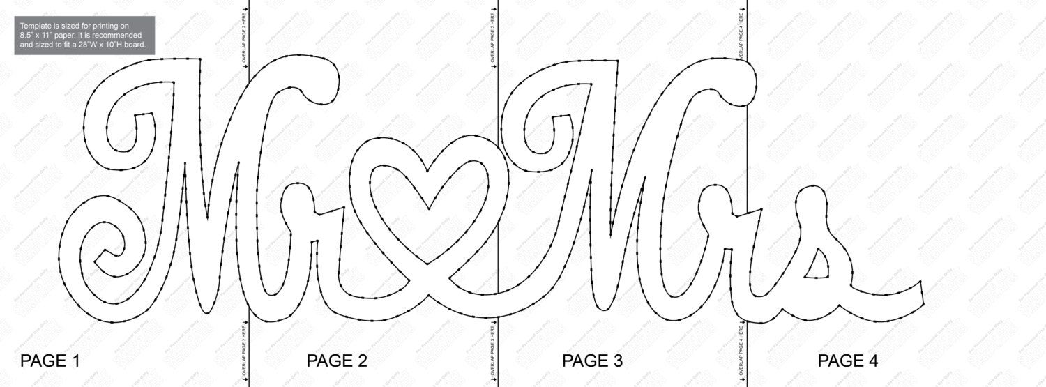 Mr & Mrs String Art Template - Touw, Patronen en Collages