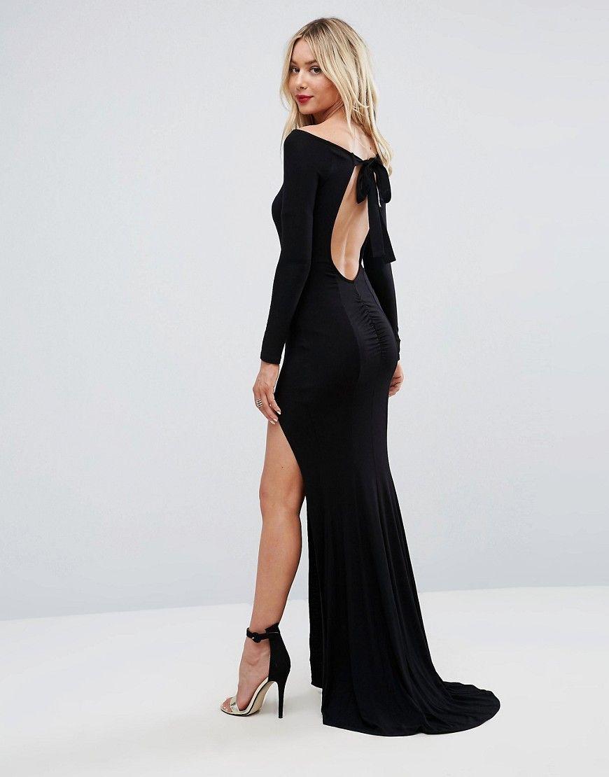 Asos long sleeve open back maxi fishtail dress black products