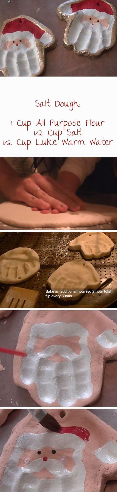 Salt Dough Santa Handprint   20+ DIY Christmas Crafts for Kids to Make