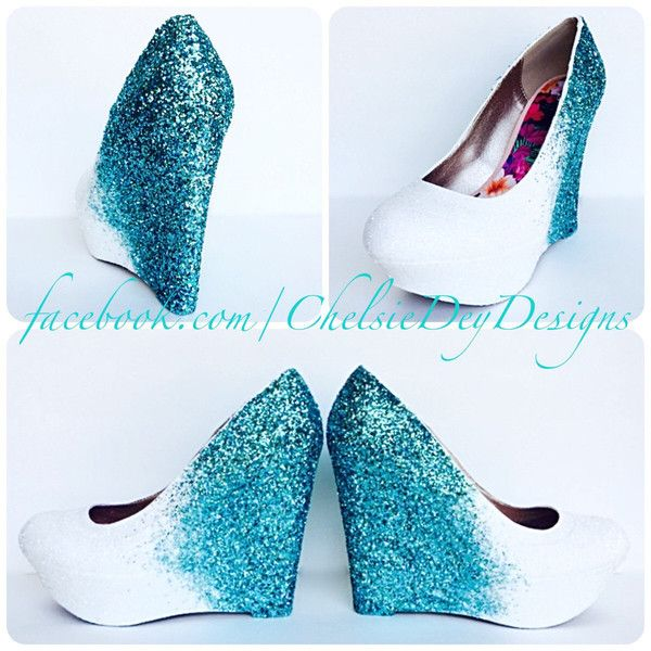 Glitter Wedges Teal White Sparkly Ombre Platform Heel Glitzy Turquoise...  ( 115) ❤ liked on Polyvore featuring shoes 247b45d3b