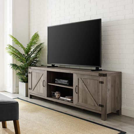 Manor Park Modern Farmhouse Barn Door Tv Stand For Tv S Up To 78 Multiple Finishes Barn Door Tv Stand Farmhouse Tv Stand Living Room Tv
