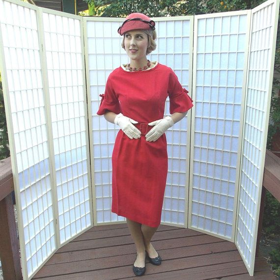 Vintage 1950's / 60's Tomato Red Wiggle Dress Rayon Linen Blend Sheath Bell Sleeves  'A Mar Lee Original' label Mad Men style
