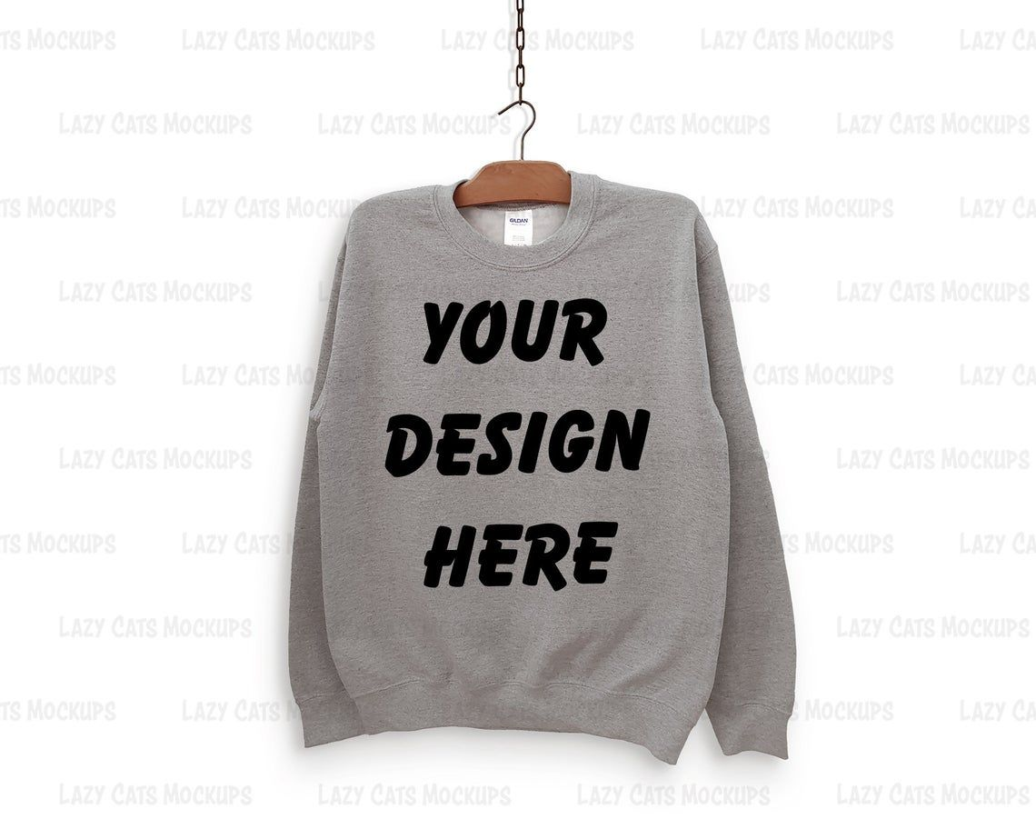 Download Sport Grey Gildan 18000 Mock Up With Hanger Sweatshirt Mock Etsy Sweatshirts Hoodie Mockup Sweatshirts Online