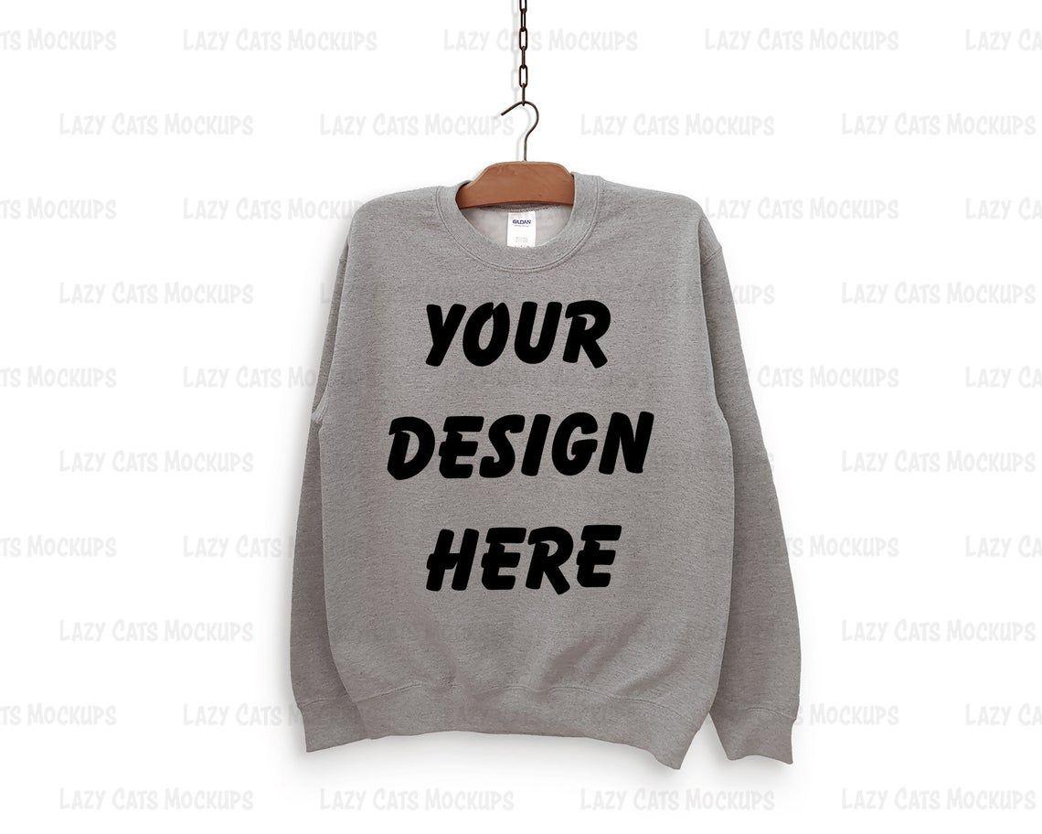 Download Sport Grey Gildan 18000 Mock Up With Hanger Sweatshirt Mock Etsy Sweatshirts Hoodie Mockup Sweatshirts Online