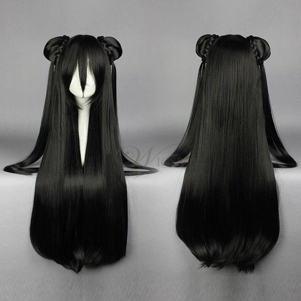 Super Long Straight Black Cosplay Wig With Ponytails 57
