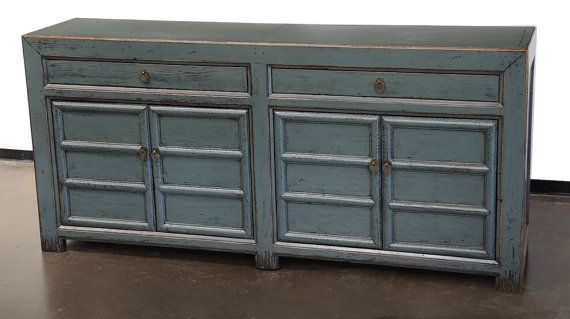 Teal Sideboard Buffet TV Console Cabinet By Terra Nova Furniture Los Angeles
