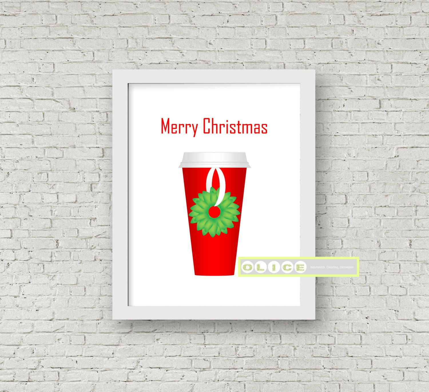 Starbucks red cup print, hostess gift, red Starbucks cup, Christmas ...