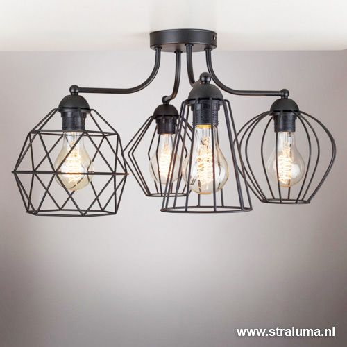 Speelse draad plafondlamp zwart Diamond - www.straluma.nl ...