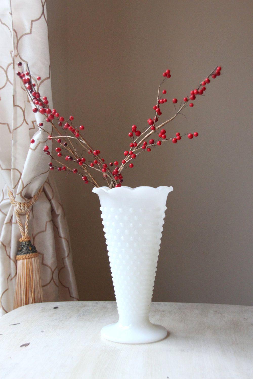 Vintage hobnail milk glass flower vase tall white vase vintage hobnail milk glass flower vase tall white vase flowers floral floridaeventfo Choice Image