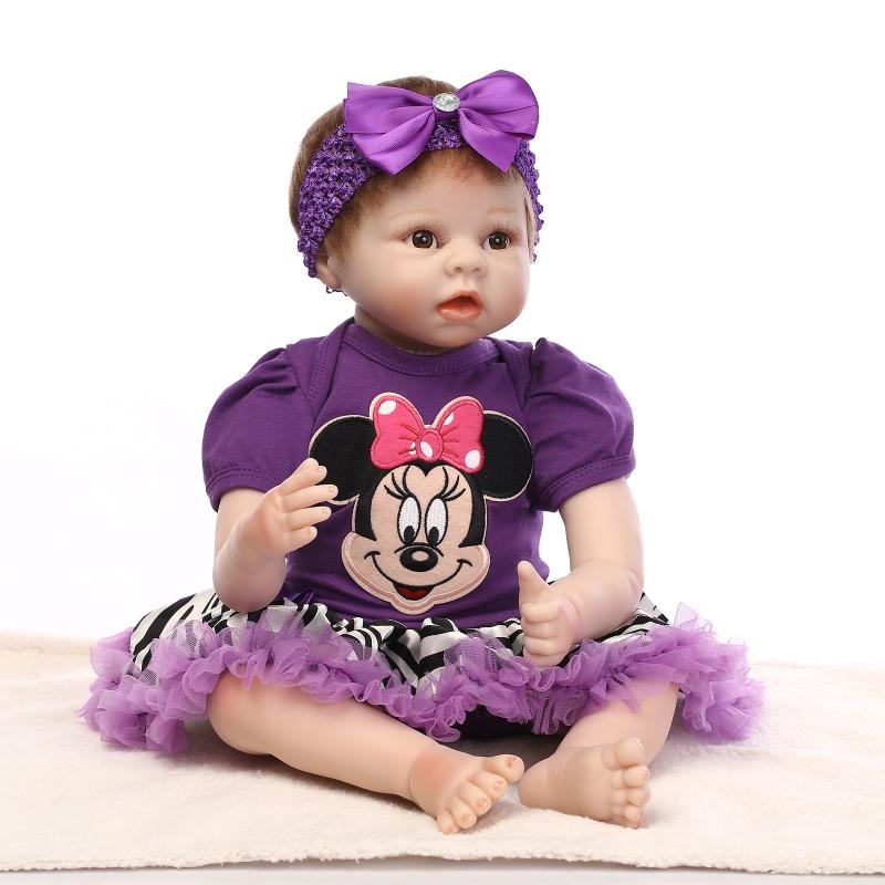 94.64$  Watch here - http://alijqp.worldwells.pw/go.php?t=32702862632 - Lovely newborn  22inch  55cm silicone reborn   baby  realistic  girl doll stuff body silcone vinyl limps and head  toys for kids 94.64$