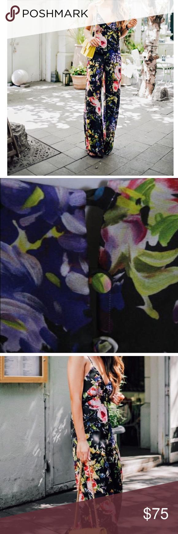 Jay Godfrey Black Floral Jumpsuit