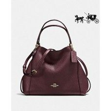 Coach Edie Shoulder Bag 28 In Polished Pebble Leather LIGHT GOLD   OXBLOOD 90bf495c4d3f6
