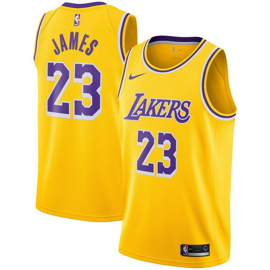 best loved e9fbe 714bb Men's Los Angeles Lakers LeBron James Nike Gold 2018/19 ...