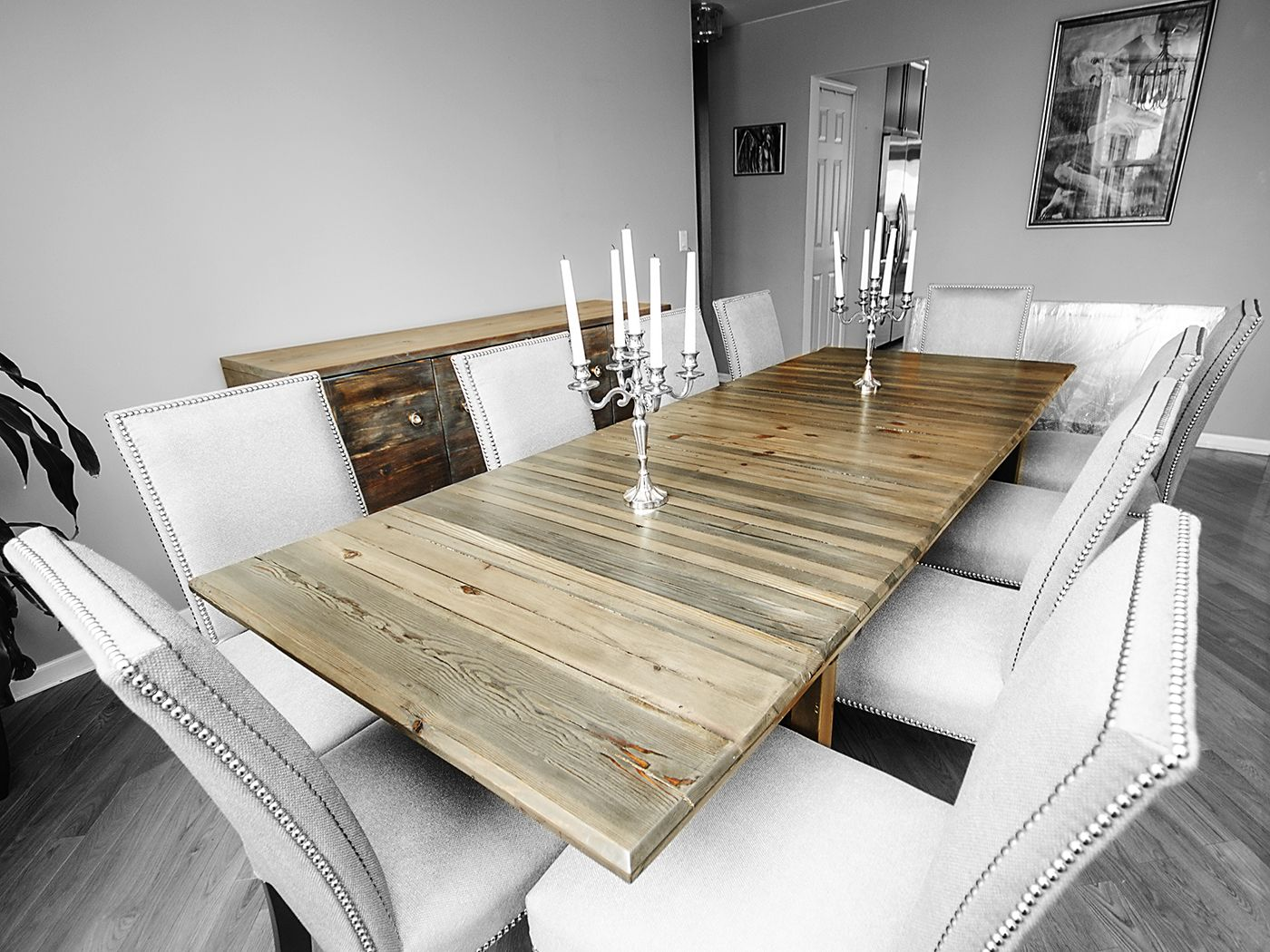 Large ebonizedwhite washed dining table with removable wooden legs