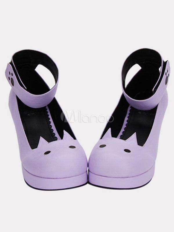 10dd61fa1250 Matte Purple Lolita Chunky Heels Shoes Tea Party Shoes Ankle Strap Round Toe