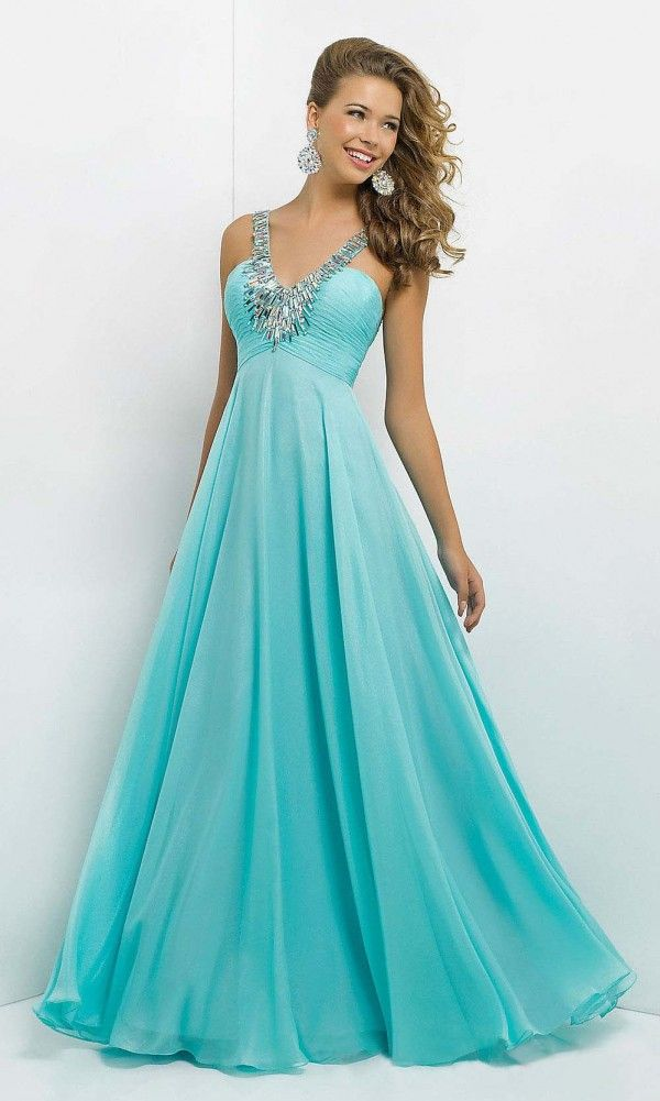 affordable blue long chiffon spaghetti prom dress with beads | Cheap ...