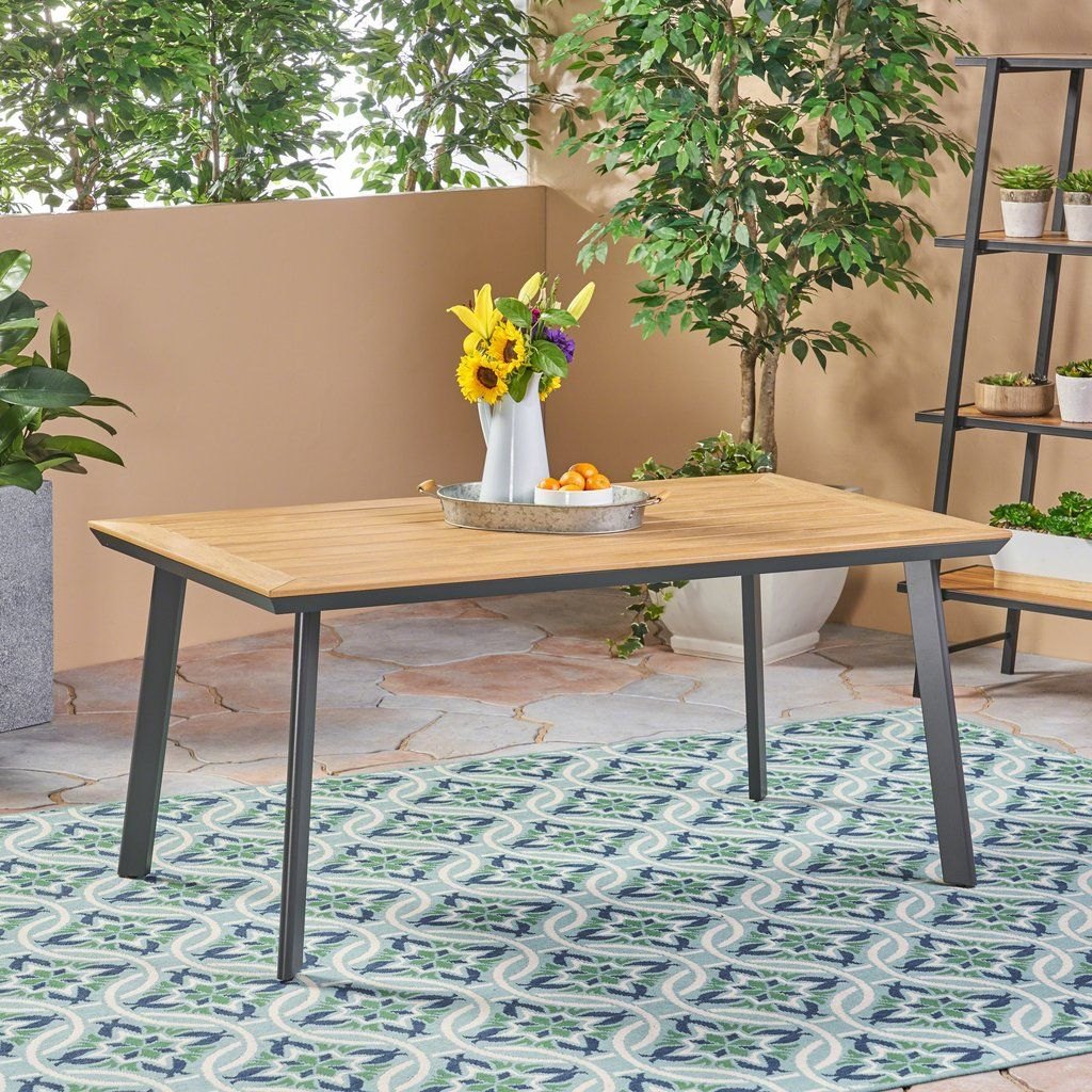 Able Outdoor Aluminum Dining Table With Faux Wood Table Top In