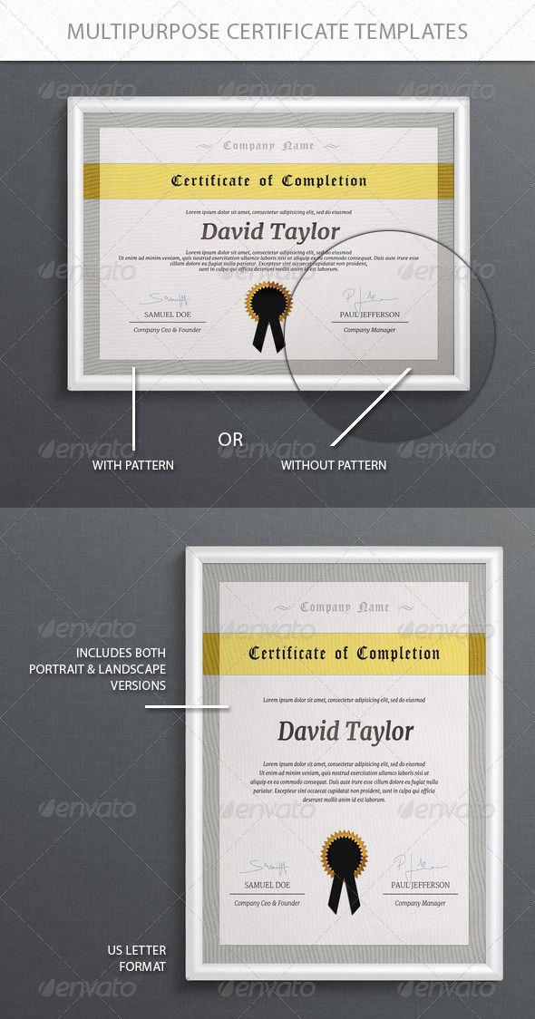 Multipurpose Certificate Templates  Certificate Templates Psd