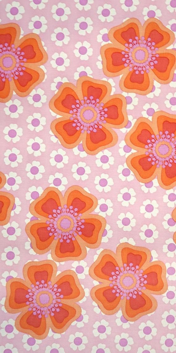 70s floral wallpaper #1414 - per meter or roll / vintage flower wallpaper / prilblumen