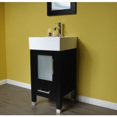 18 inch Wood  Porcelain Single Vessel Sink Bathroom Vanity Set