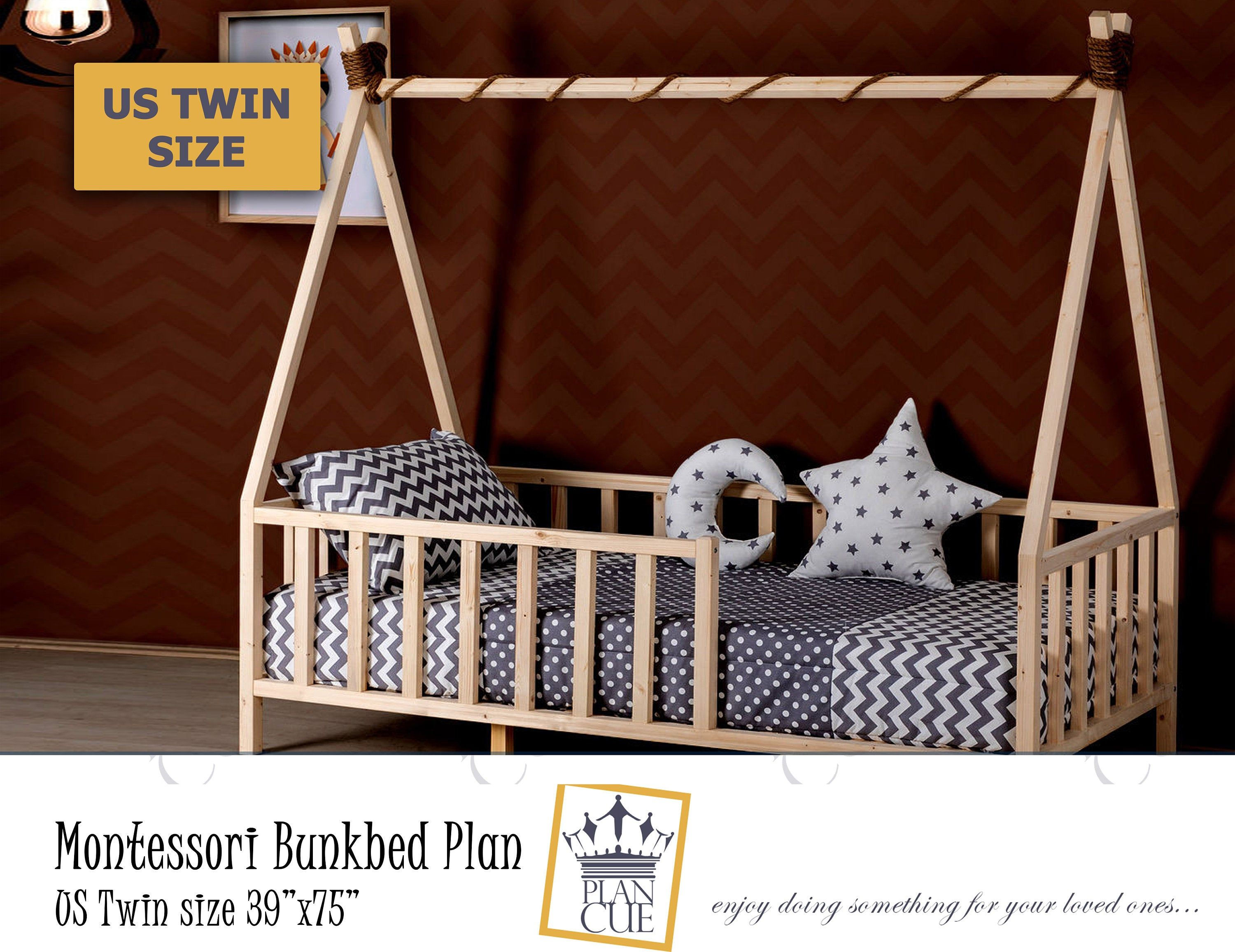 Montessori Bed Twin Toddler House Bed Plan Queen Bed Kid Bed