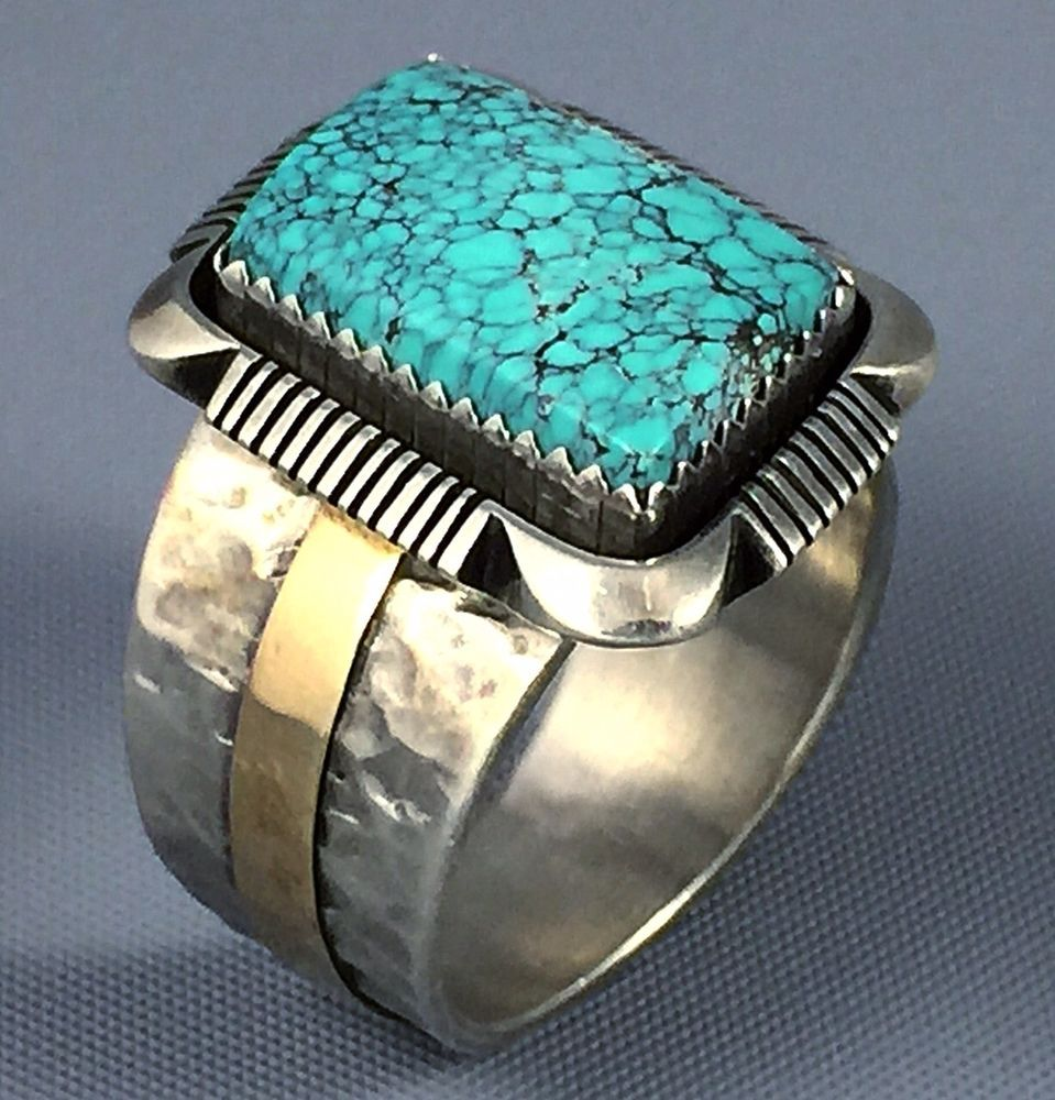 19g Big Navajo Sterling Silver 14k Gold 8 Spiderweb Turquoise Mens Ring Sz 11 5 Turquoise