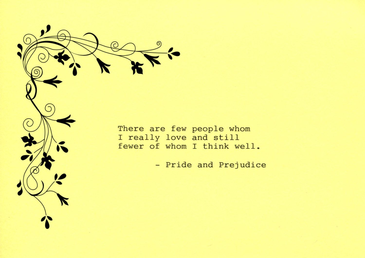 Pride and Prejudice Quote Made on Typewriter Art Quote Wall Art ...