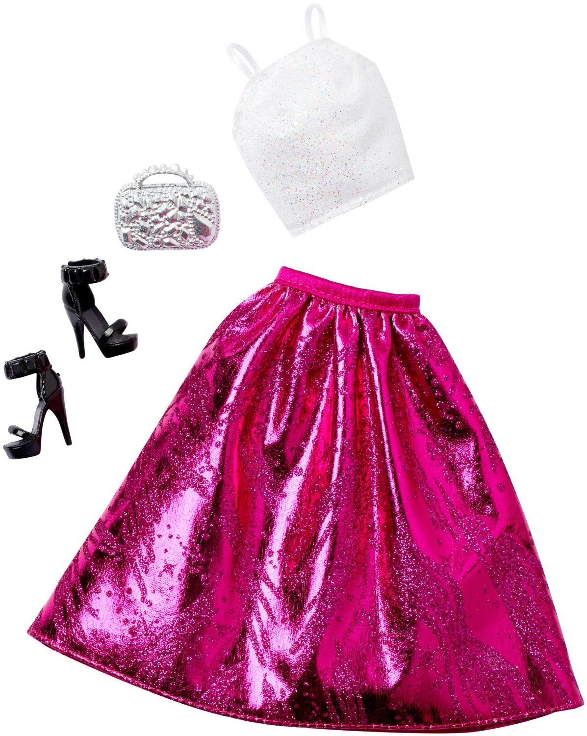 NEW  2019 BARBIE COMPLETE LOOK FASHION PACK OUTFIT LA Top /& PINK Skirt