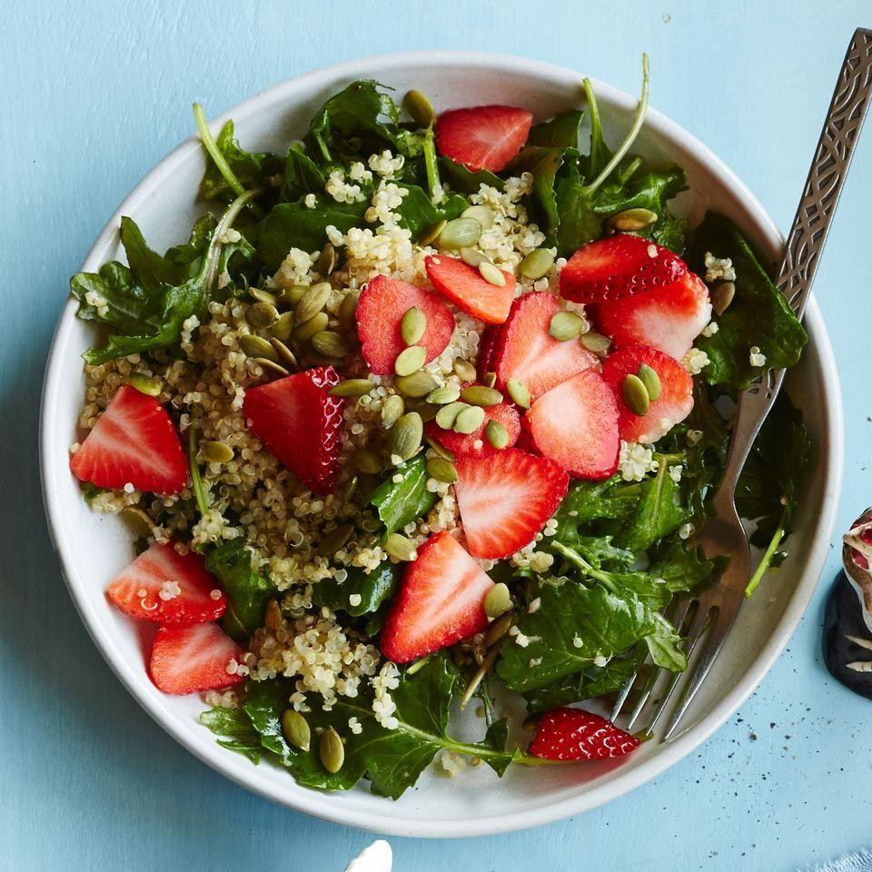 Baby Kale Breakfast Salad With Quinoa Strawberries Recipe Vegan Meal Plans Breakfast Salad Recipes