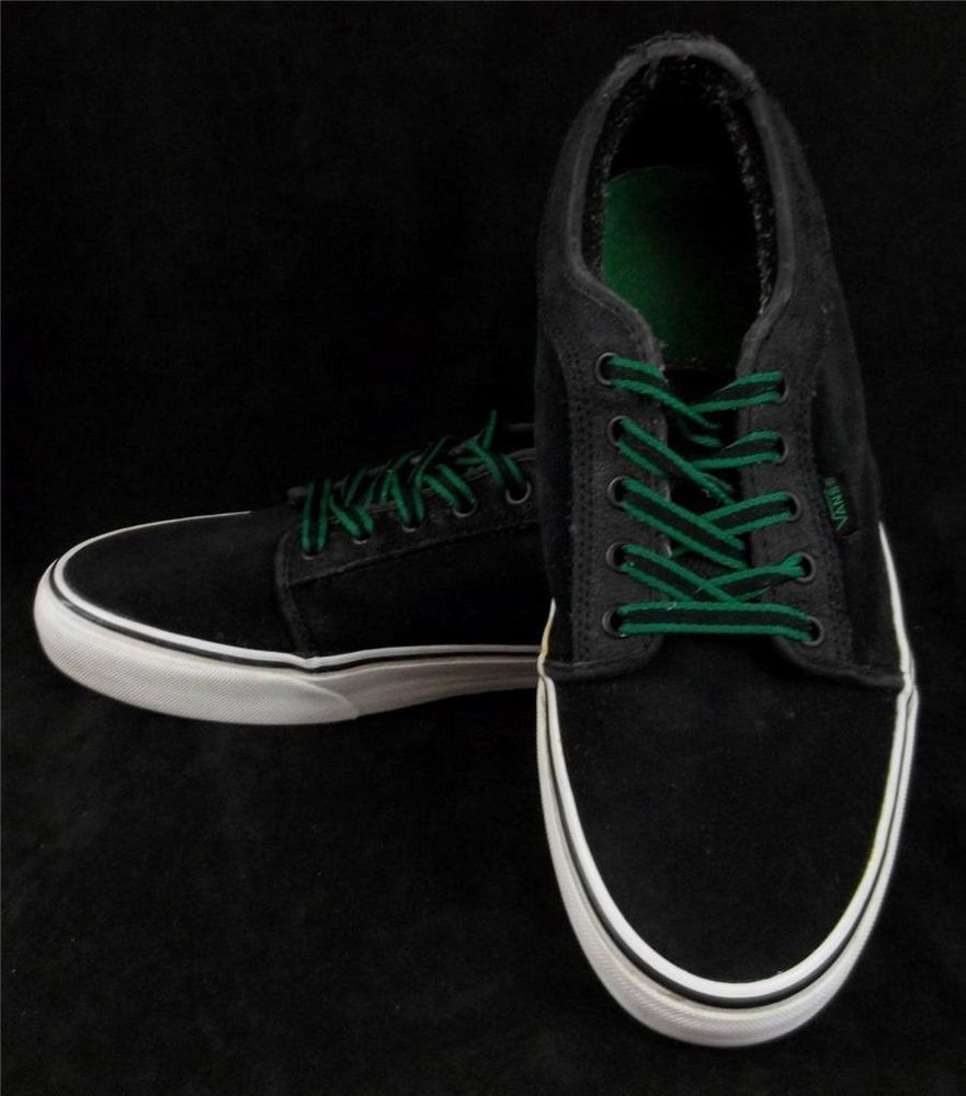 35593a6f3e VANS Black Classic LEATHER Tennis Sneakers Green Laces Shoes Mens SIZE 11