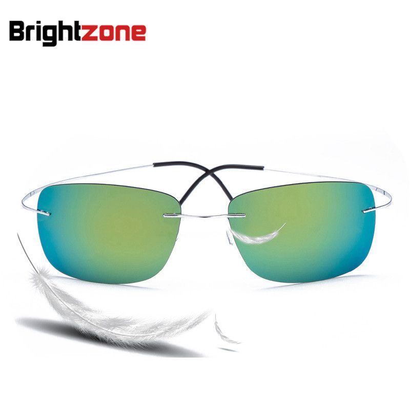 53c43f47a44 Click to Buy    100% Titanium Rimless sunglasses Polaroid super ...