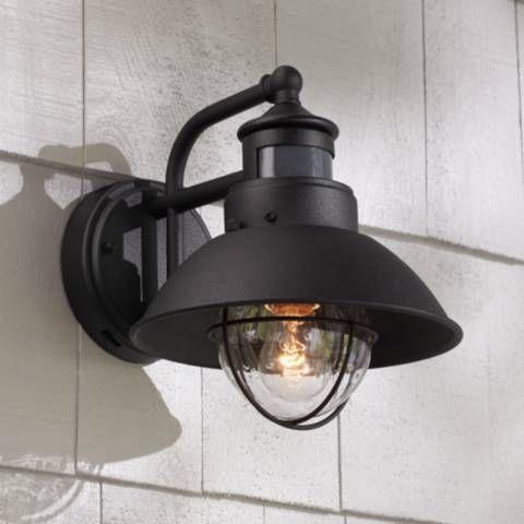Oberlin 9 H Black Dusk To Dawn Motion Sensor Outdoor Light 5y111 Lamps Plus Exterior Light Fixtures Farmhouse Outdoor Lighting Black Outdoor Wall Lights
