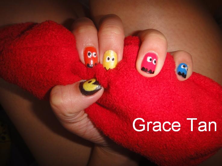 Free Nail Art Ideas Free Style Fun Pac Man Nail Art Nail Art