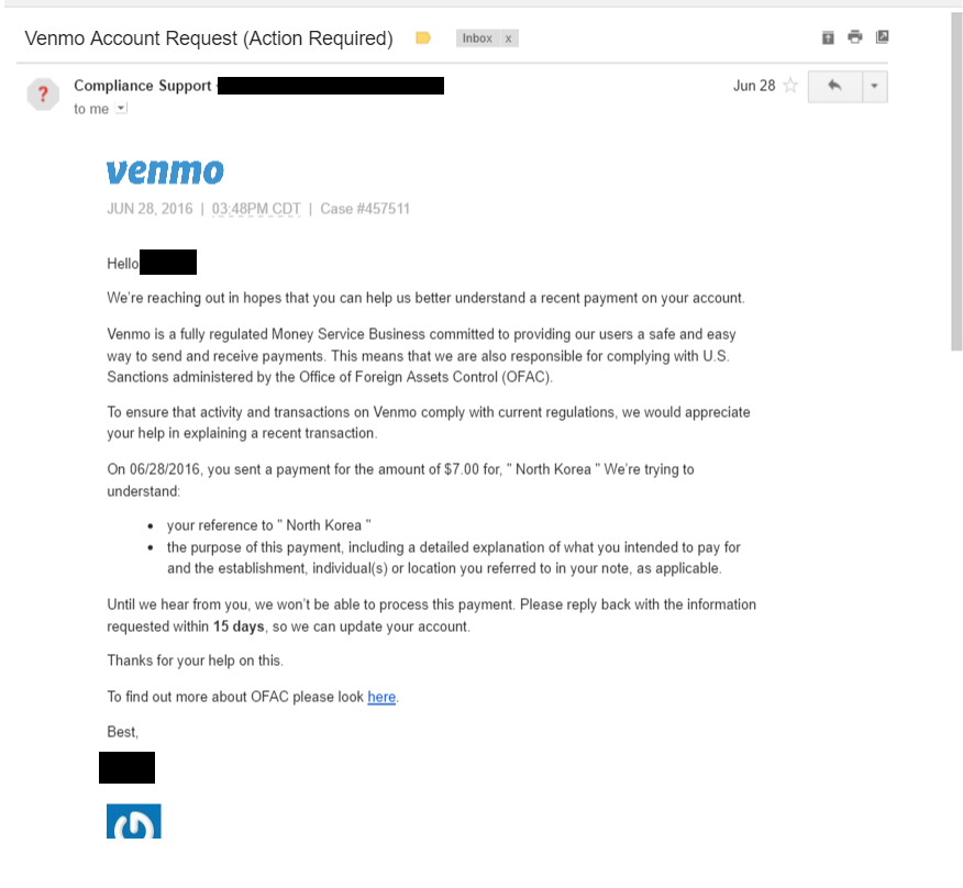 One of my friends requested money through venmo (a money