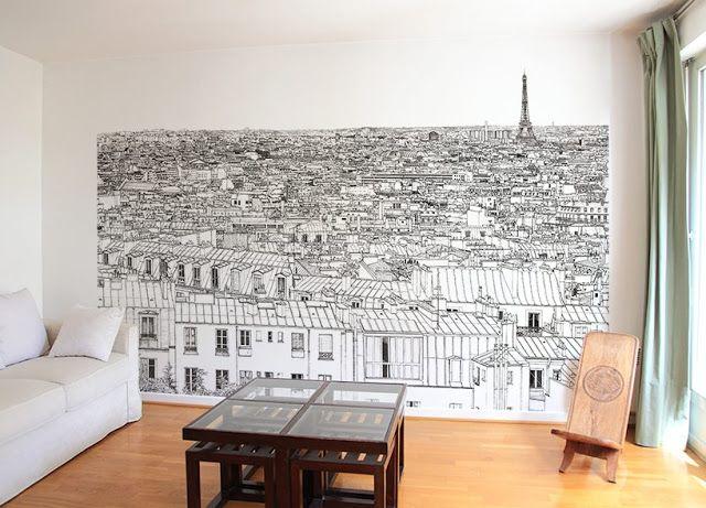Ohmywall Papier peint trompe l'oeil   sham wallpaper   #Paris #illustration