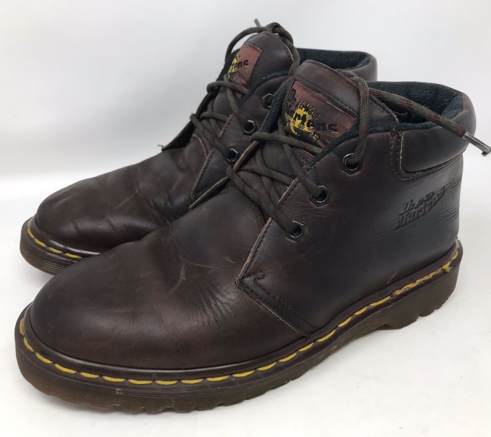 035f7aafffe Vtg Dr Doc Martens Brown Leather AirWair Ankle Boots 8057 Made In ...