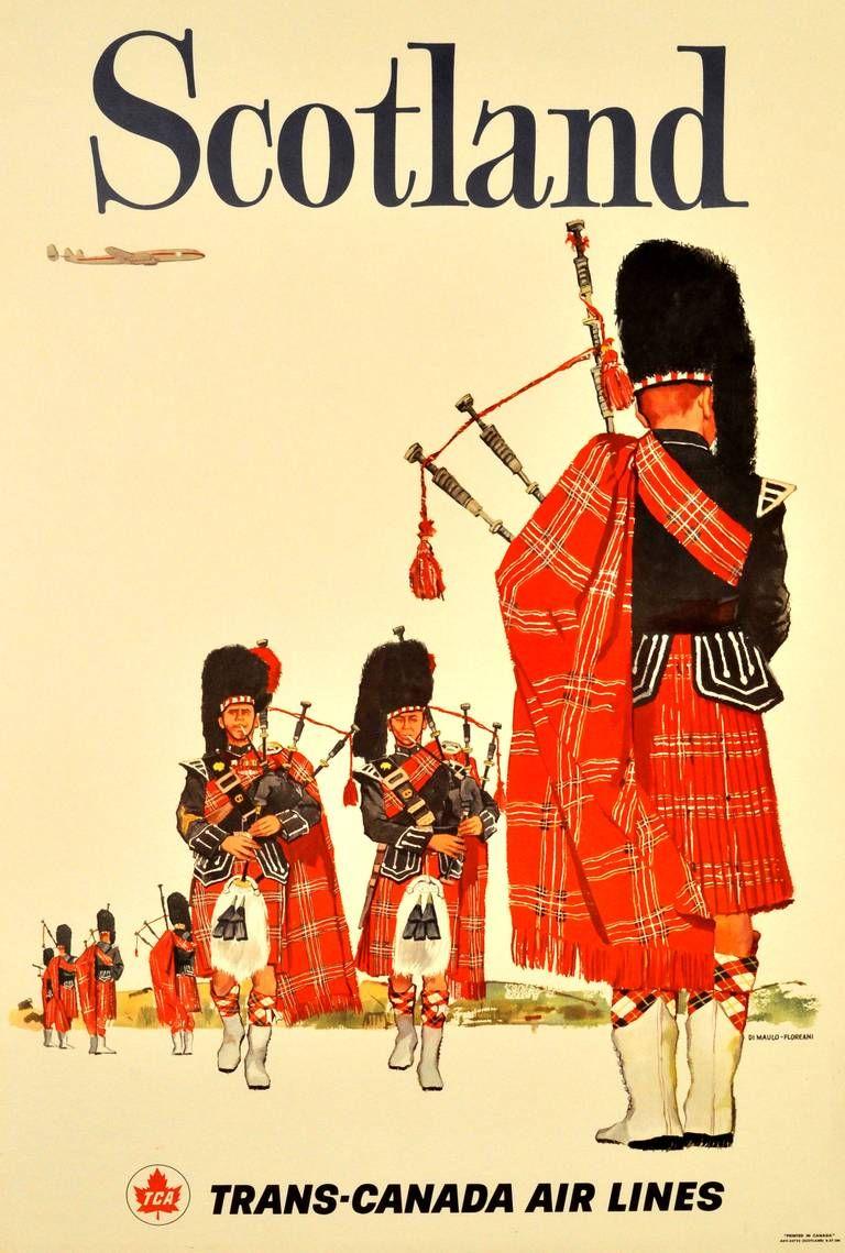 Original vintage travel poster advertising Scotland by