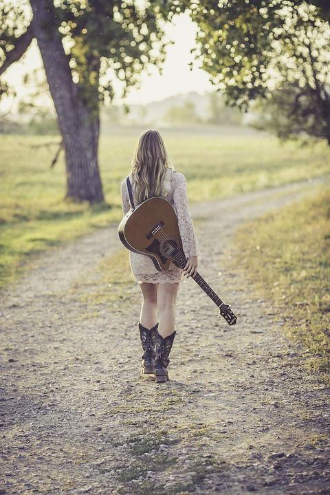 Guitarra, Estrada Do País, Jovem, Feminino, Músico