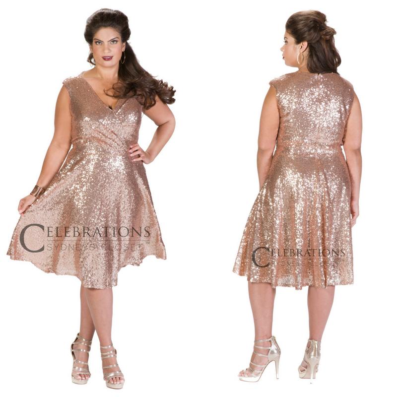 f47b8144726 Rose gold sequin cocktail length dress