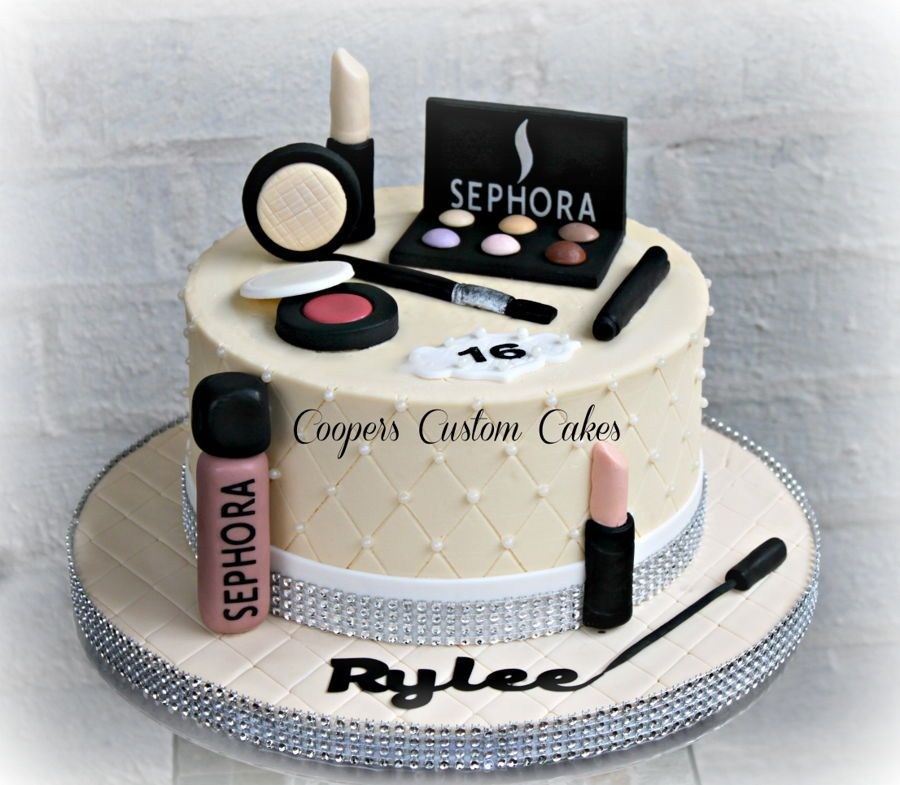 Makeup Cake Make Up Cake Fondant Cake Designs Makeup Birthday