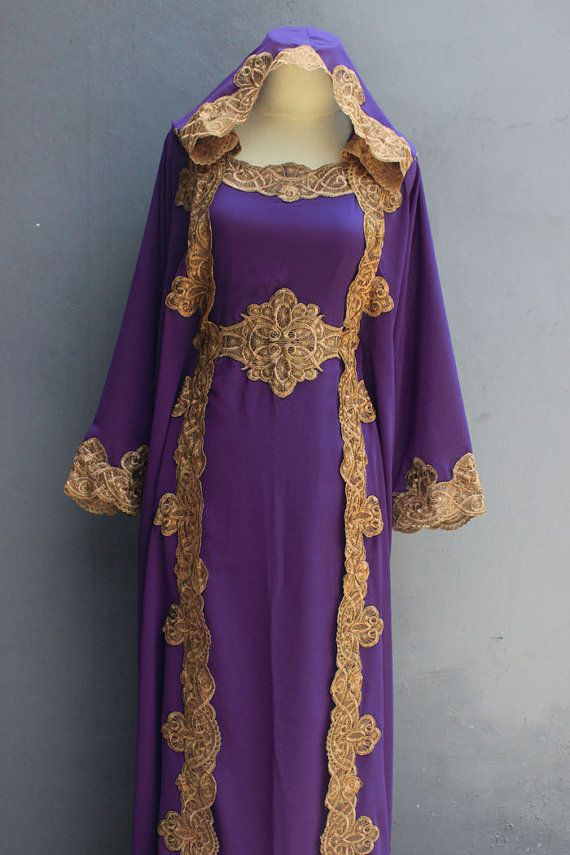 Elegant Purple Womens Caftan Purple Dress Dubai Gold Embroidery ...