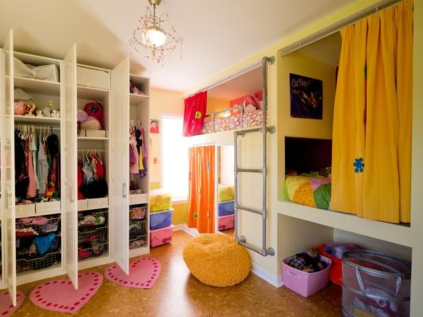 Creative Shared Bedroom For Three Girls Hgtv Kids Rooms Kids
