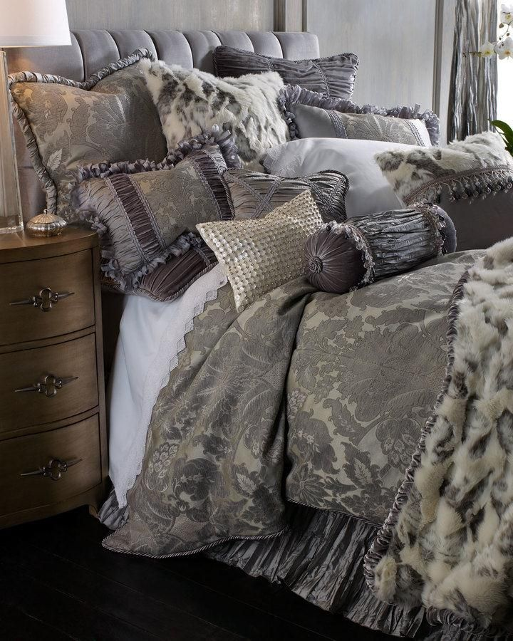 Dian Austin Couture Home Penthouse Suite Bedding. Glamorous bed linens in a sophisticated shade of platinum showcase a damask chenille pattern woven in Belgium of viscose/cotton/polyester. $ $135-1,400