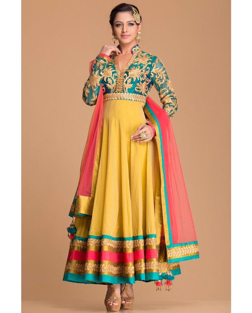 Yellow and blue anarkali suit with silk border 1. Yellow and blue ...