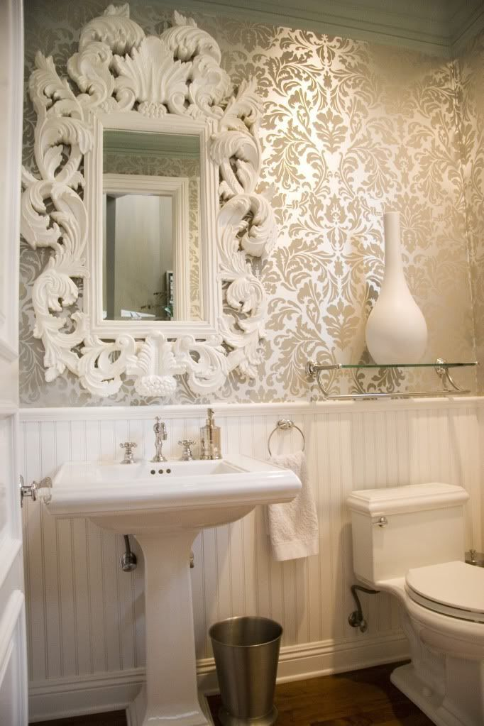 Love The Mirror The Damask Wallpaper French Bathroom Elegant