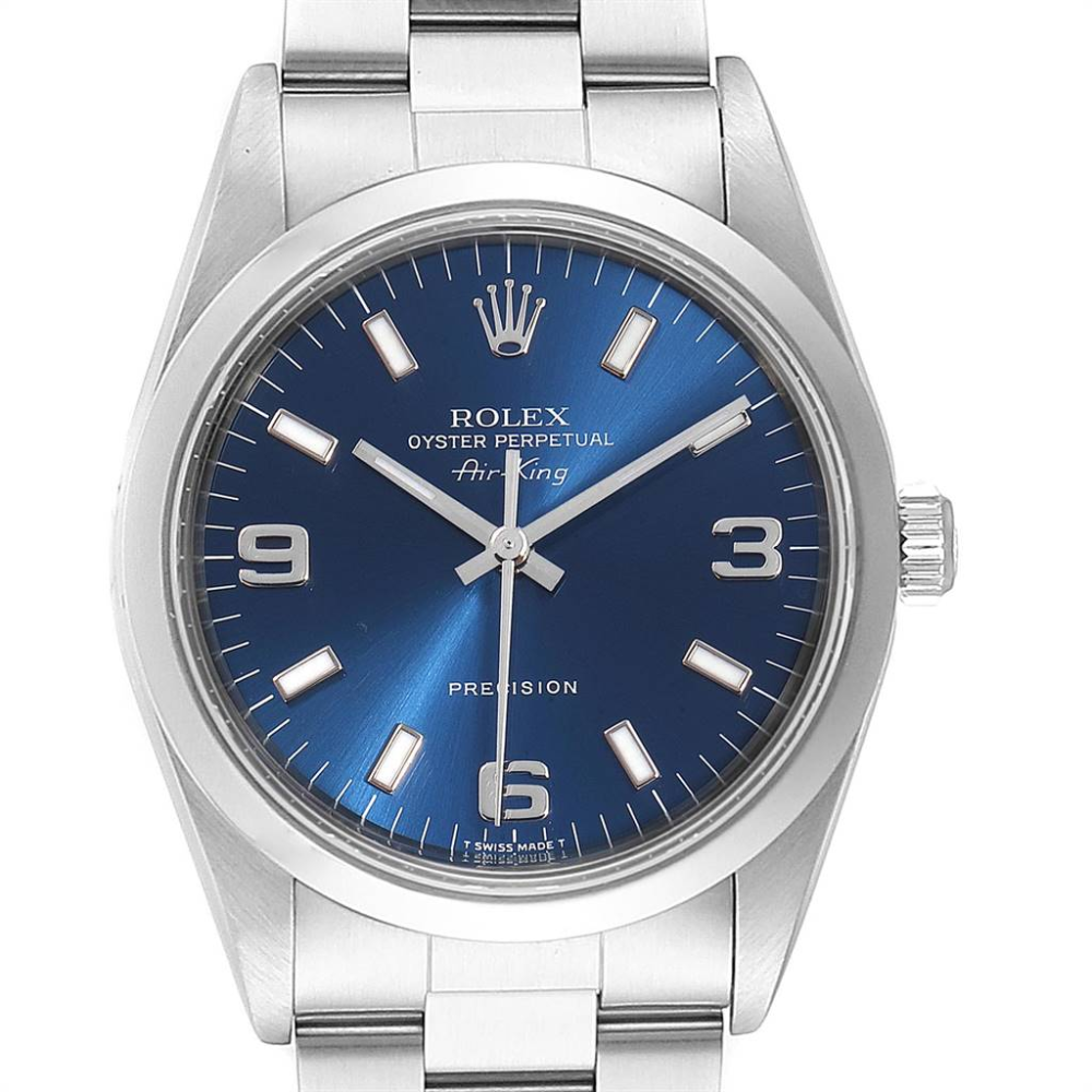 Rolex Air King 34 Blue Baton Dial Domed Bezel Steel Mens