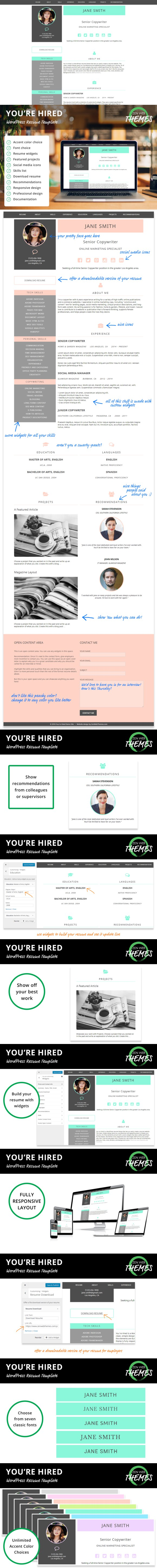 YouRe Hired Wordpress Resume Theme  Wordpress And Template