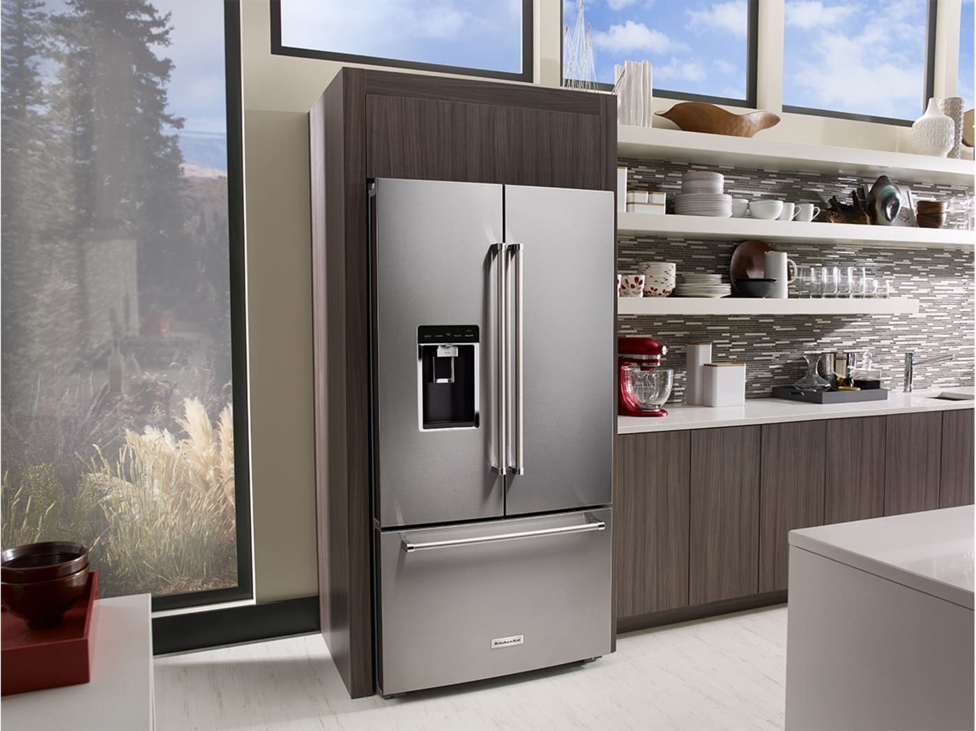 Krfc604fss By Kitchenaid French Door Refrigerators Goedekers Com French Door Refrigerator Kitchen Aid Counter Depth French Door Refrigerator