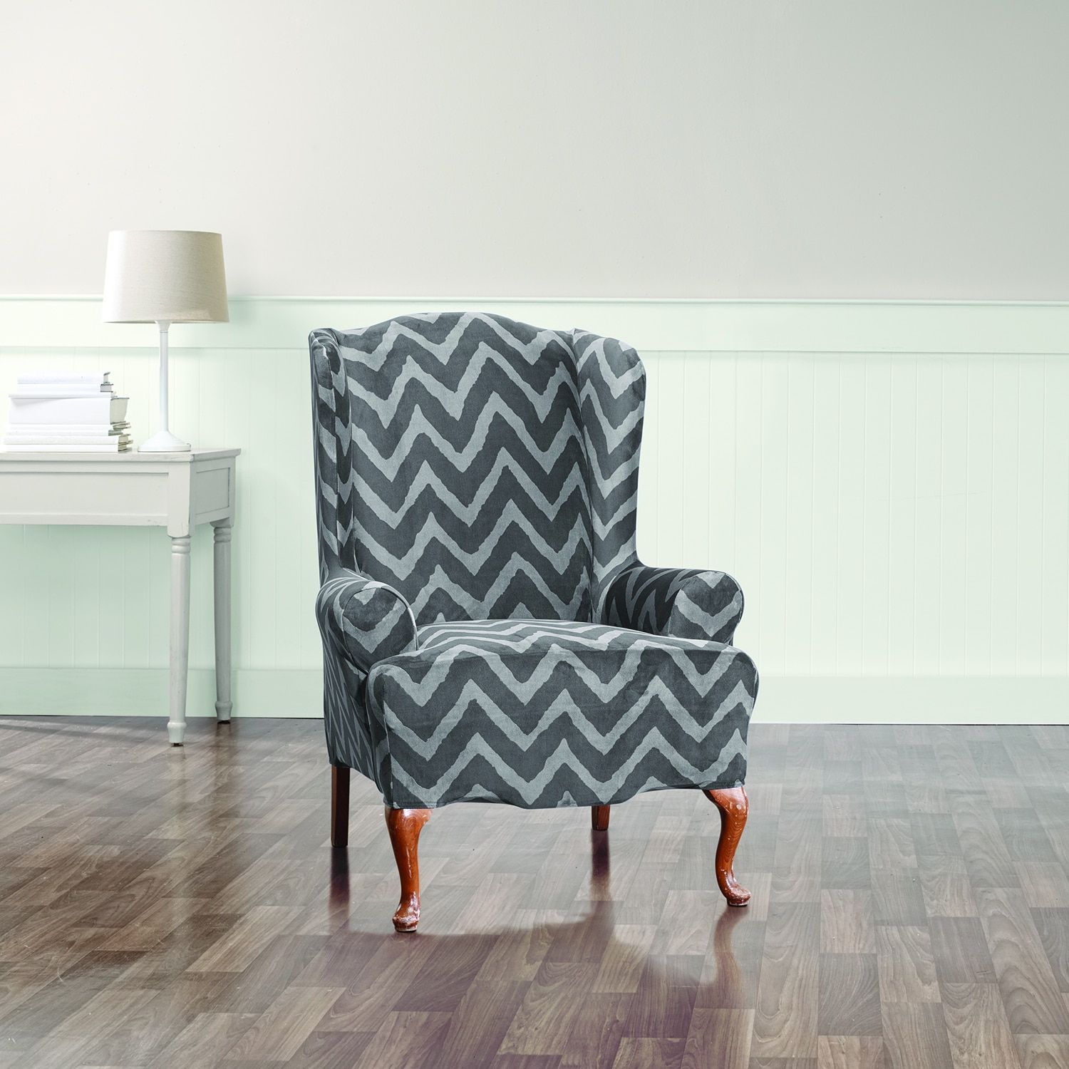 Chevron wing chairs - Sure Fit Stretch Plush Chevron Wing Chair Cover